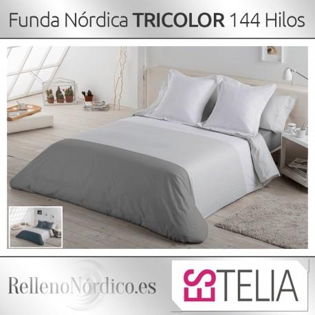 Juego Funda Nórdica Liso Tricolor de Es-tela