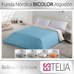 Funda Nórdica Liso BICOLOR Algodón de Estelia